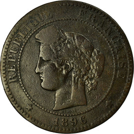 Coin, France, Cérès, 10 Centimes, 1896, Paris, VF(30-35), Bronze, KM:815.1