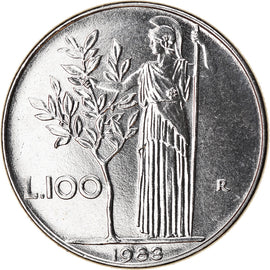 Coin, Italy, 100 Lire, 1983, Rome, MS(63), Stainless Steel, KM:96.1