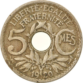 Coin, France, Lindauer, 5 Centimes, 1920, Paris, EF(40-45), Copper-nickel