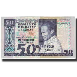 Banknote, Madagascar, 50 Francs = 10 Ariary, KM:62a, UNC(65-70)