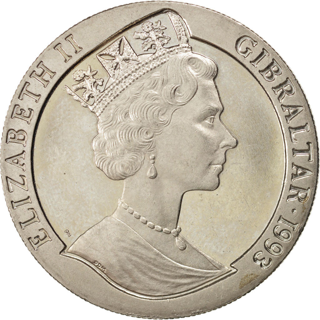 GIBRALTAR, Crown, 1993, KM #121, MS(63), Copper-Nickel, 38.8, 28.33