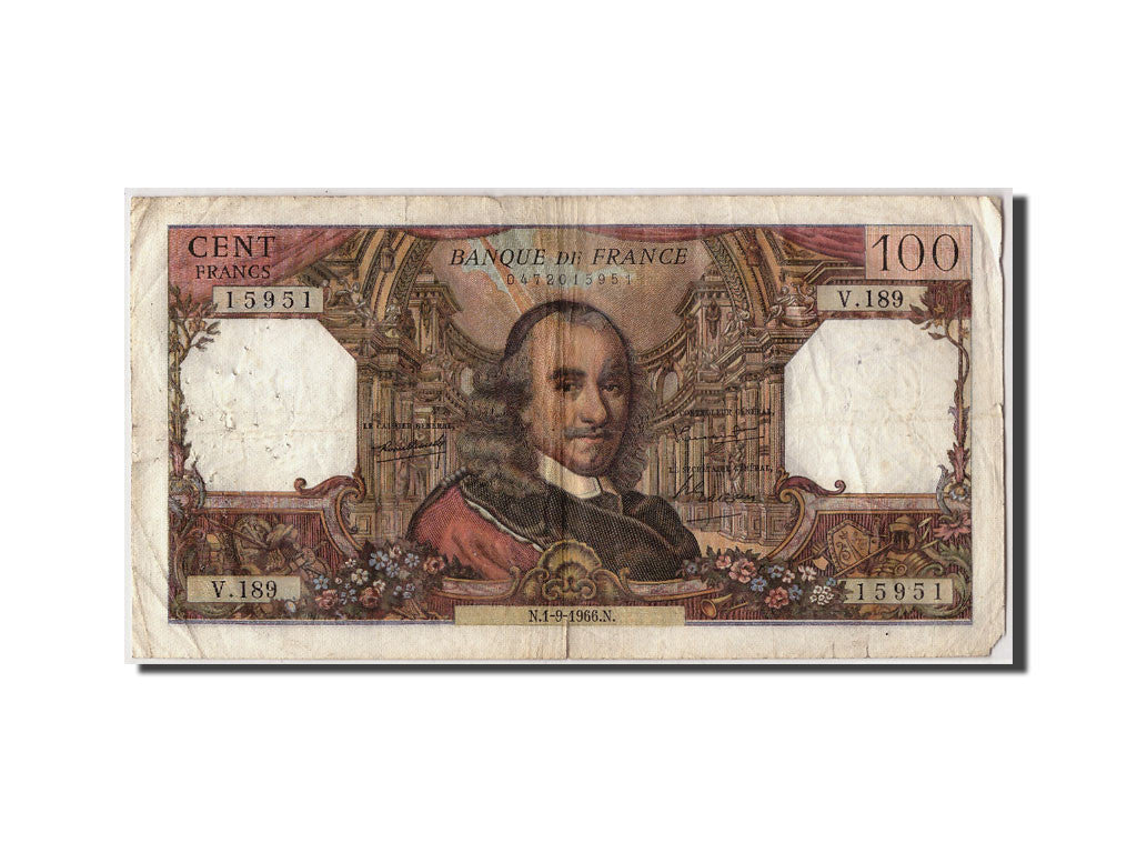 France, 100 Francs 1964-1979 ''Corneille'',KM:149b,1966-09-01,VF(20-25)