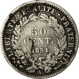 Coin, France, 50 Centimes, 1851, Paris, VF(20-25), Silver, KM:769.1, Gadoury:411