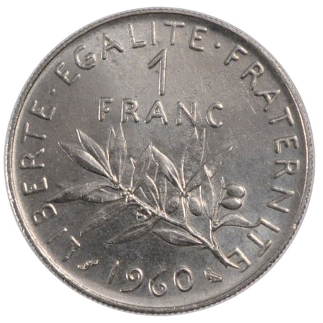 Coin, France, Semeuse, Franc, 1960, Paris, AU(55-58), Nickel, KM:925.1