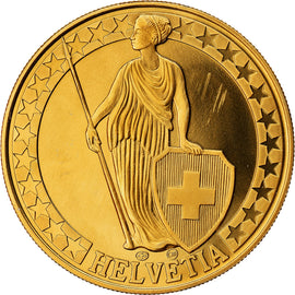 Switzerland, Medal, Le Lac de Neufchâtel, MS(64), Copper-Nickel Gilt