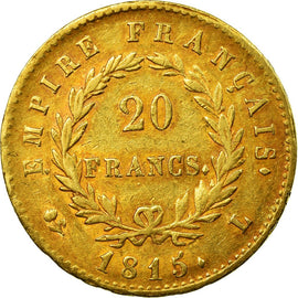 Coin, France, 20 Francs, 1815, Bayonne, Cent Jours, EF(40-45), Gold, KM:705.2