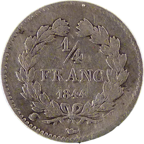 FRANCE, Louis-Philippe, 1/4 Franc, 1844, Lille, KM #740.13, VF(20-25), Silver,..