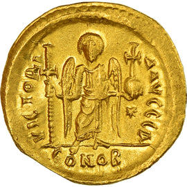 Coin, Justinian I, Solidus, 527-565 AD, Constantinople, AU(55-58), Gold