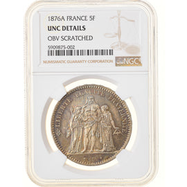 Coin, France, Hercule, 5 Francs, 1876, Paris, NGC, UNC Details, MS(60-62)