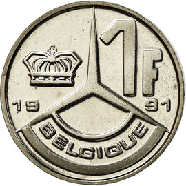Coin, Belgium, Franc, 1991, Paris, MS(65-70), Nickel Plated Iron, KM:170