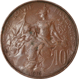 Coin, France, Dupuis, 10 Centimes, 1916, Paris, EF(40-45), Bronze, KM:843