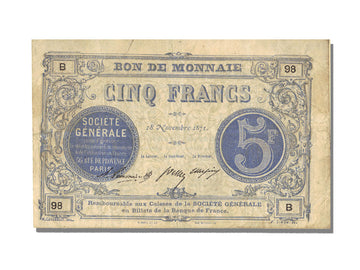 FRANCE, Paris, 5 Francs, 1871, 1871-11-18, EF(40-45), B.98, Jérémie #75.02.C