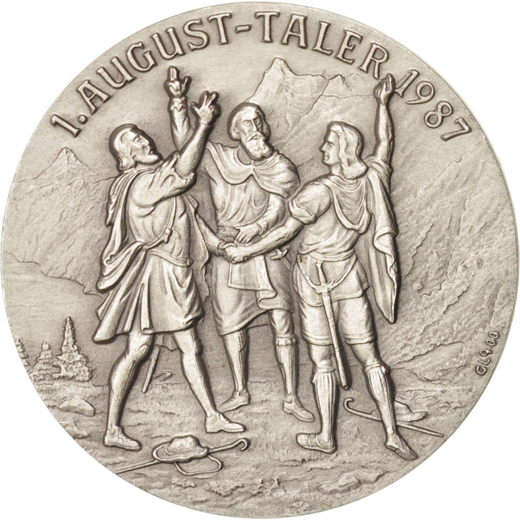 Switzerland, Tourist Token, History, Token, 1987, MS(60-62), Silver, 33