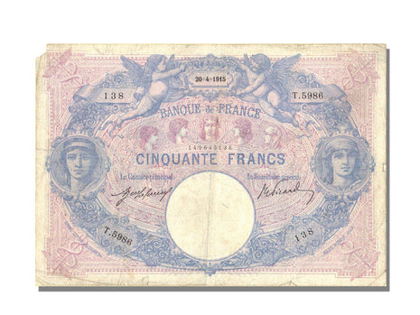 France, 50 Francs, 50 F 1889-1927 ''Bleu et Rose'', 1915, KM #64e, 1915-04-20,..