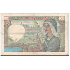 France, 50 Francs, Jacques Coeur, 1940-06-13, VF(20-25), Fayette:19.1, KM:93
