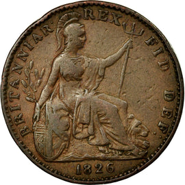 Coin, Great Britain, George IV, Farthing, 1826, AU(50-53), Copper, KM:677