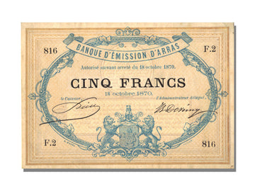 FRANCE, Arras, 5 Francs, 1870, 1870-10-18, UNC(63), F.2, Jérémie #62.02.B