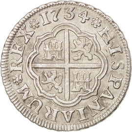 SPAIN, Real, 1734, Seville, KM #354, AU(50-53), Silver, 2.97