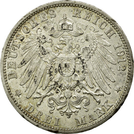 Coin, German States, BADEN, Friedrich II, 3 Mark, 1912, Stuttgart, AU(50-53)