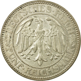 Coin, GERMANY, WEIMAR REPUBLIC, 5 Reichsmark, 1927, Berlin, MS(60-62), Silver
