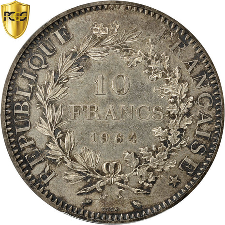 Coin, France, 10 Francs, 1964, Paris, PCGS, SP65, MS(65-70), Silver, KM:E111