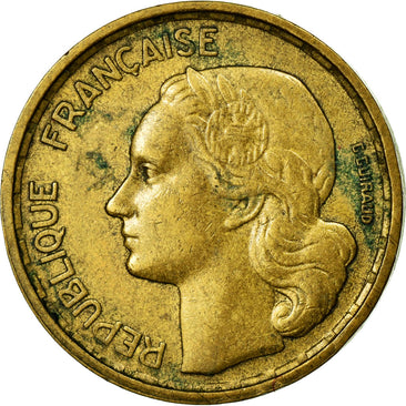 Coin, France, Guiraud, 10 Francs, 1954, Paris, EF(40-45), Aluminum-Bronze