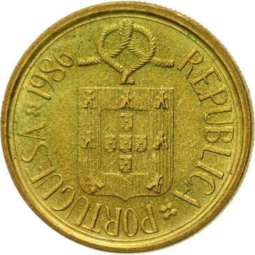 Coin, Portugal, 5 Escudos, 1986, EF(40-45), Nickel-brass, KM:632