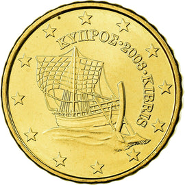 Cyprus, 10 Euro Cent, 2008, MS(65-70), Brass, KM:81