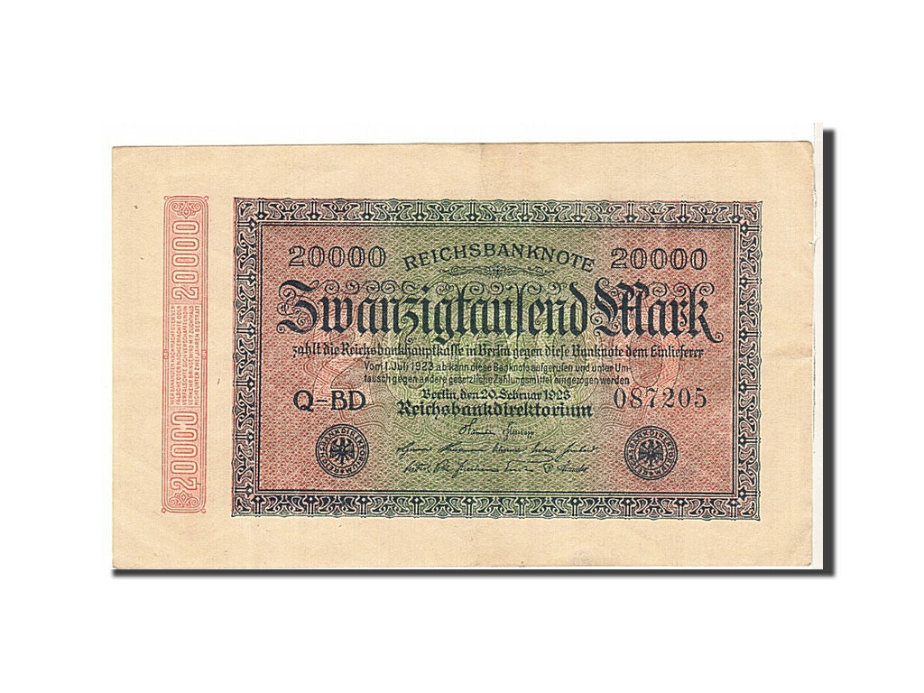 Germany, 20,000 Mark, 1923, KM #85b, AU(50-53), CDB0258892