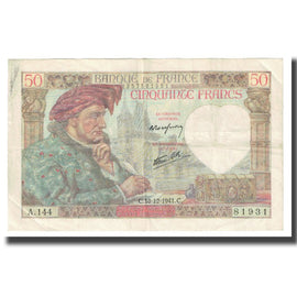 France, 50 Francs, 1941, P. Rousseau and R. Favre-Gilly, 1941-12-18, AU(50-53)