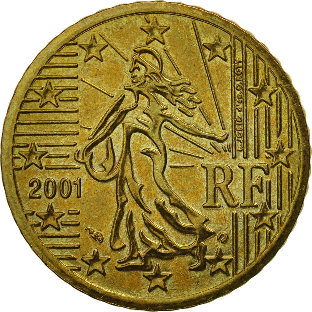 [#463450] France, 50 Euro Cent, 2001, AU(55-58), Brass, KM:1287