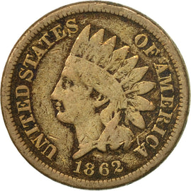 Coin, United States, Indian Head Cent, Cent, 1862, U.S. Mint, Philadelphia