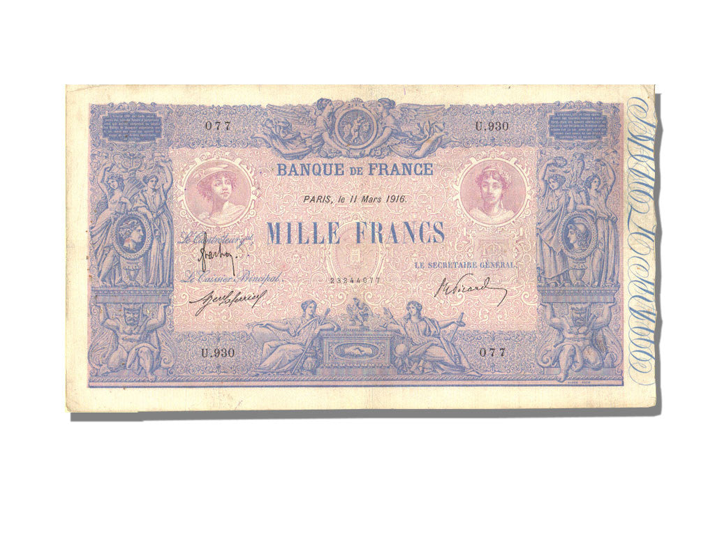 France, 1000 Francs, 1 000 F 1889-1926 ''Bleu et Rose'', 1916, KM #67g,...