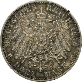 Coin, German States, BADEN, Friedrich II, 3 Mark, 1914, Stuttgart, EF(40-45)