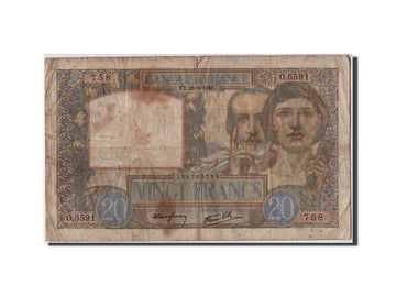 France, 20 Francs 1939-1942 ''Science et Travail'', 1941, KM:92b