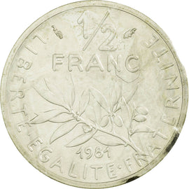 Coin, France, 1/2 Franc, 1981, Paris, Piéfort, MS(65-70), Silver, KM:P696