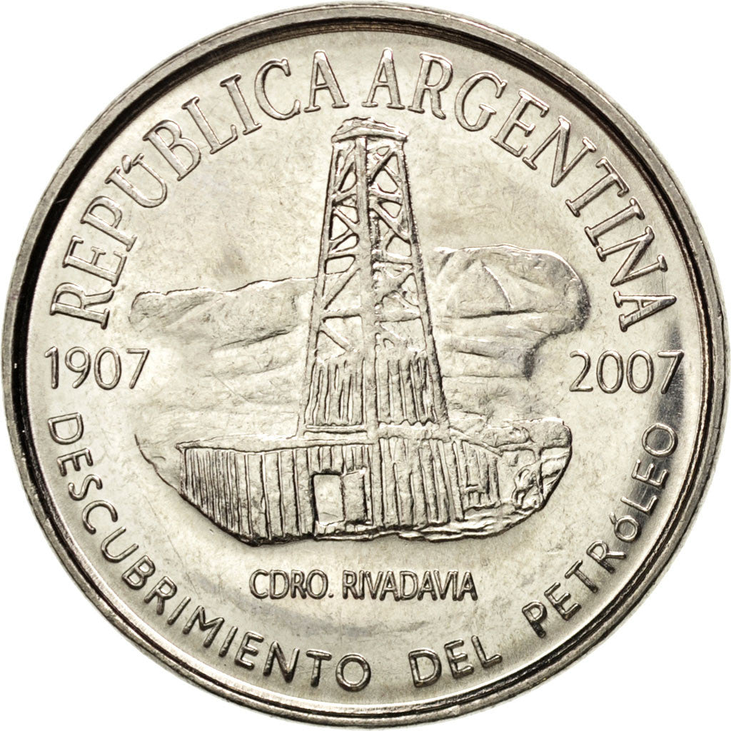 ARGENTINA, 2 Pesos, 2007, KM #145, MS(63), Copper-Nickel, 30.35, 10.44
