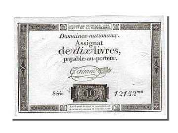 Banknote, France, 10 Livres, 1792, Taisaud, UNC(65-70), KM:A66b, Lafaurie:161.b