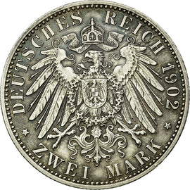 Coin, German States, BADEN, Friedrich I, 2 Mark, 1902, Stuttgart, AU(50-53)