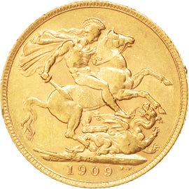 AUSTRALIA, Sovereign, 1909, Perth, KM #15, AU(50-53), Gold, 21, 7.97