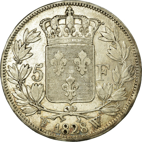 Coin, France, Charles X, 5 Francs, 1828, Lille, EF(40-45), Silver, Gadoury:644