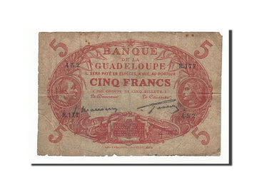Banknote, Guadeloupe, 5 Francs, 1934, VF(20-25)