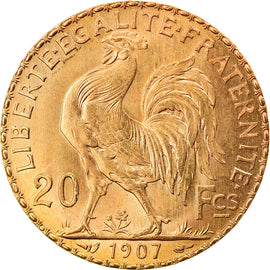 Coin, France, Marianne, 20 Francs, 1907, Paris, MS(64), Gold, KM:857