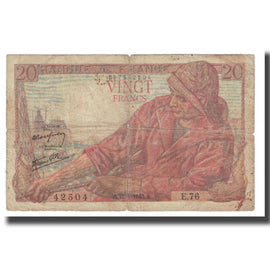 France, 20 Francs, Pêcheur, 1943, P. Rousseau and R. Favre-Gilly, 1943-04-15