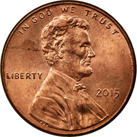 Coin, United States, Cent, 2015, Philadelphia, EF(40-45), Copper Plated Zinc