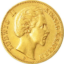 Coin, German States, BAVARIA, Ludwig II, 10 Mark, 1880, Munich, EF(40-45), Gold