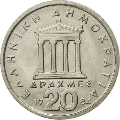 Coin, Greece, 20 Drachmes, 1984, AU(55-58), Copper-nickel, KM:133