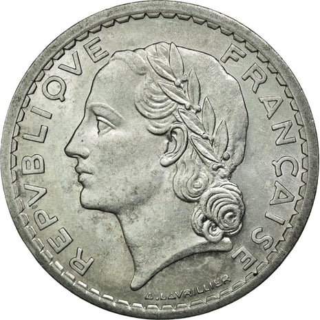 Coin, France, Lavrillier, 5 Francs, 1945, Beaumont le Roger, MS(60-62)