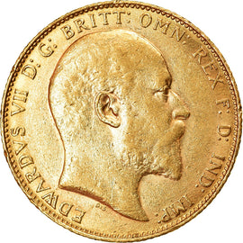 Coin, Great Britain, Edward VII, Sovereign, 1907, AU(55-58), Gold, KM:805