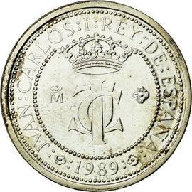 Coin, Spain, Juan Carlos I, 200 Pesetas, 1989, Madrid, MS(65-70), Silver, KM:835